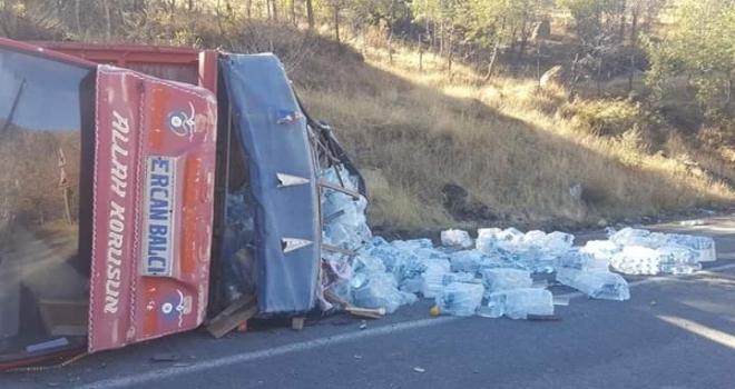 Şemdinli'de freni patlayan kamyonet devrildi