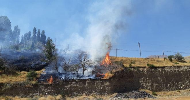 Üzüm bağındaki yangını askerler su tankeriyle söndürdü